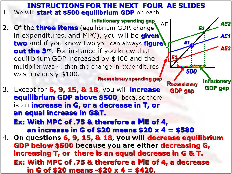 MPC MPC/MPS = M T.90MPC/.10= 9.80MPC/.20= 4.75 MPC/.25= 3.60 MPC/.40= 1.5.50 MPC/.50= 1 M T [Change in Taxes] = MPC/MPS When the G gives a tax cut, th