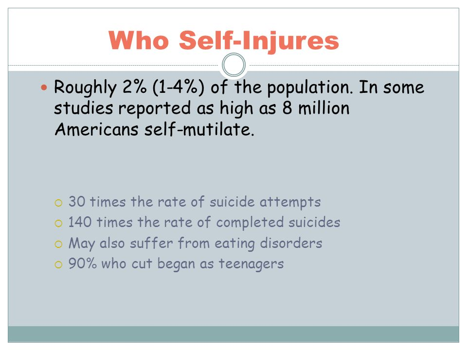 Who Self-Injures Roughly 2% (1-4%) of the population. In some studies reported as high as 8 million Americans self-mutilate. 30 times the rate of suic