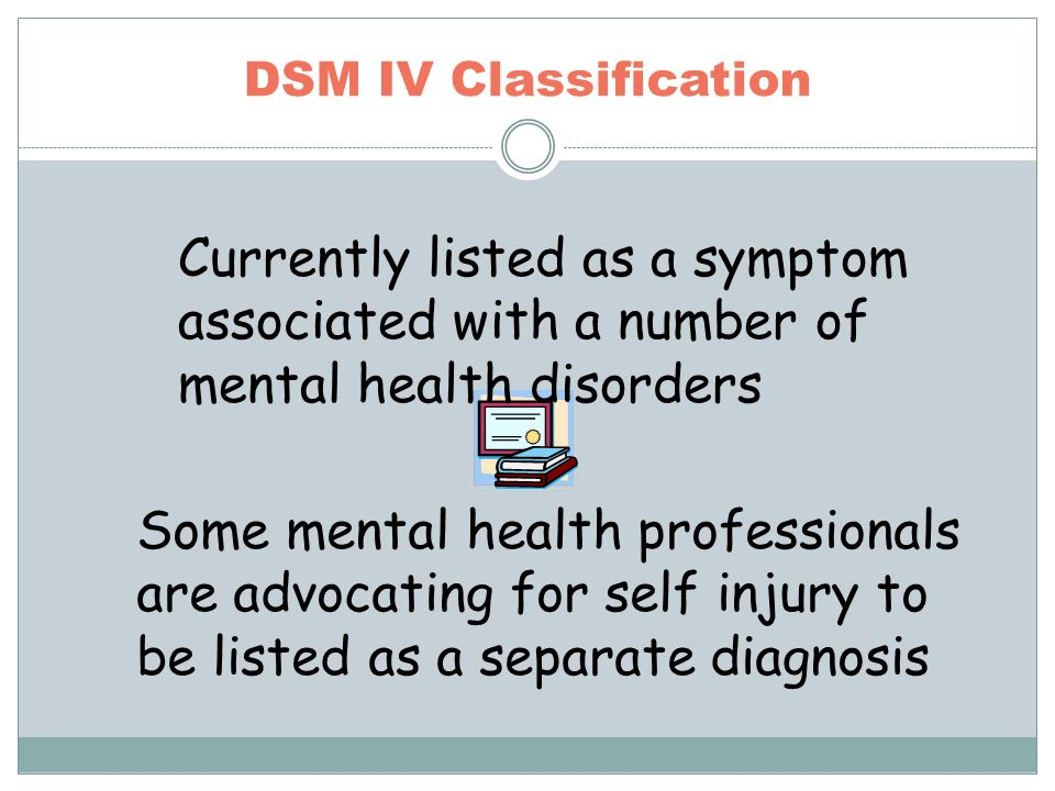 DSM IV Classification Some mental health professionals are advocating for self injury to be listed as a separate diagnosis Currently listed as a symptom associated with a number of mental health disorders