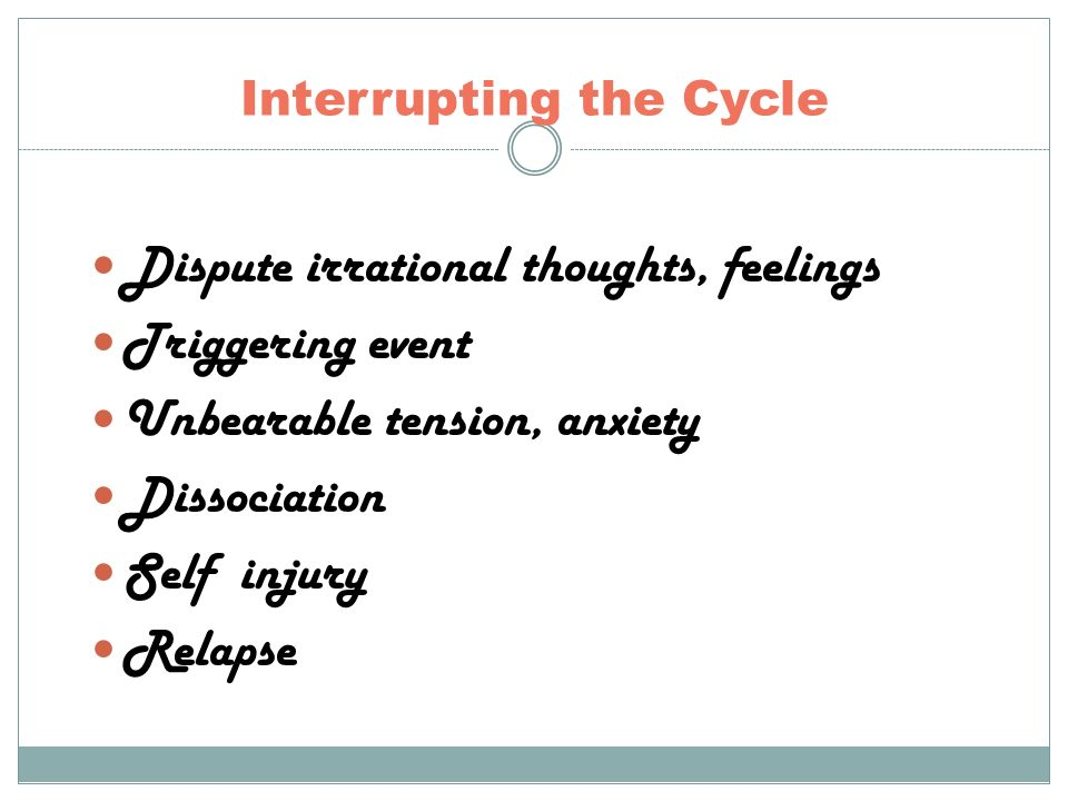 Interrupting the Cycle Dispute irrational thoughts, feelings Triggering event Unbearable tension, anxiety Dissociation Self injury Relapse