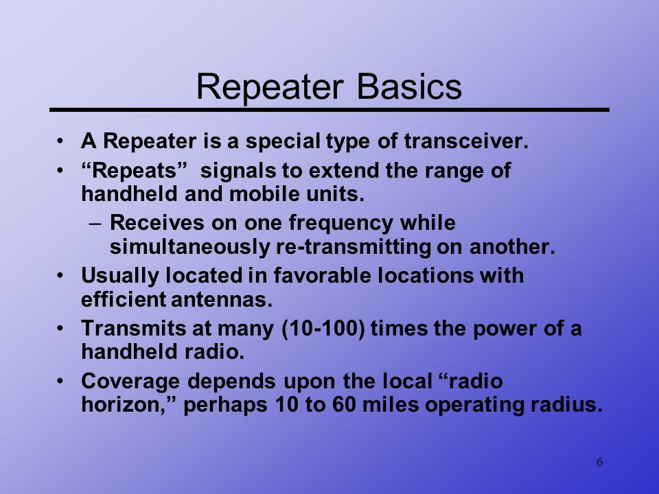 7 FM Repeater (Line of Sight)