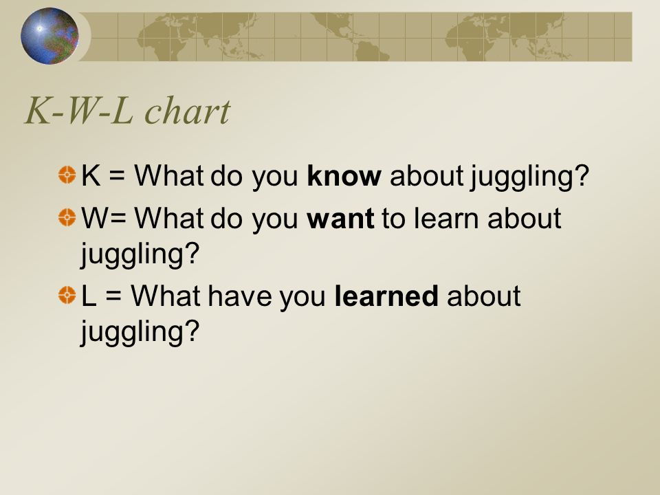 K-W-L chart K = What do you know about juggling? W= What do you want to learn about juggling? L = What have you learned about juggling?