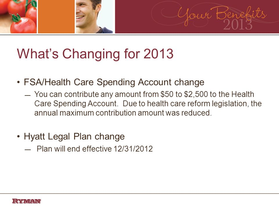 Whats Changing for 2013 FSA/Health Care Spending Account change You can contribute any amount from $50 to $2,500 to the Health Care Spending Account.