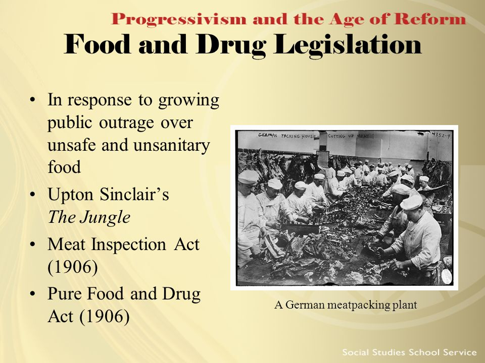 Food and Drug Legislation In response to growing public outrage over unsafe and unsanitary food Upton Sinclairs The Jungle Meat Inspection Act (1906)
