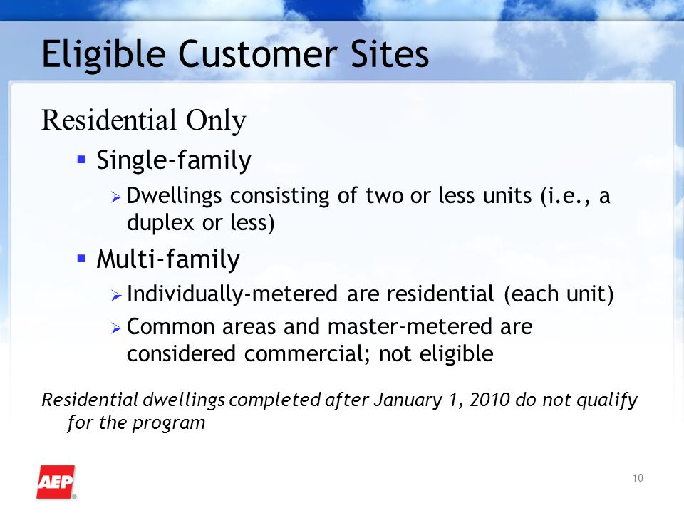 10 Eligible Customer Sites Residential Only Single-family Dwellings consisting of two or less units (i.e., a duplex or less) Multi-family Individually-metered are residential (each unit) Common areas and master-metered are considered commercial; not eligible Residential dwellings completed after January 1, 2010 do not qualify for the program