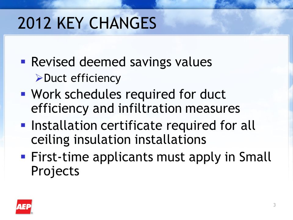 3 2012 KEY CHANGES Revised deemed savings values Duct efficiency Work schedules required for duct efficiency and infiltration measures Installation certificate required for all ceiling insulation installations First-time applicants must apply in Small Projects