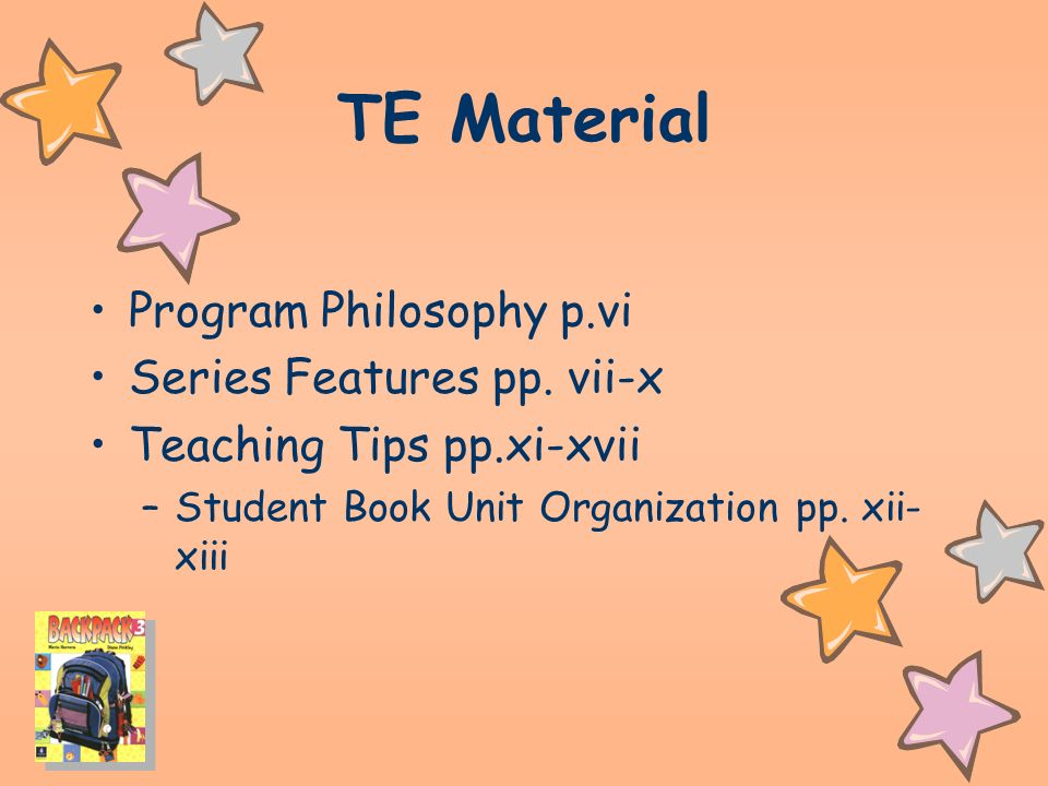 TE Material Program Philosophy p.vi Series Features pp.