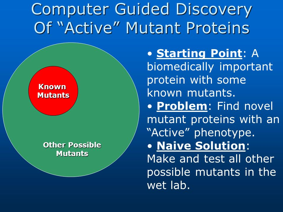 Computer Guided Discovery Of Active Mutant Proteins Known Mutants Other Possible Mutants Starting Point: A biomedically important protein with some kn