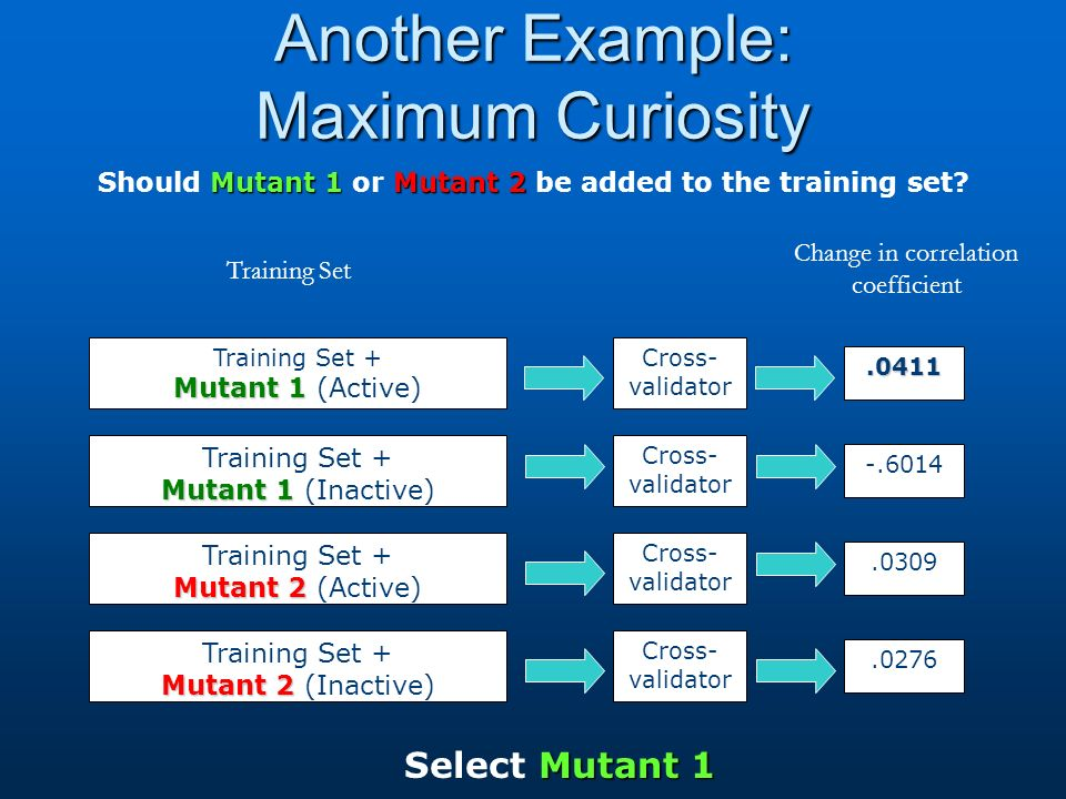 Another Example: Maximum Curiosity Mutant 1Mutant 2 Should Mutant 1 or Mutant 2 be added to the training set.