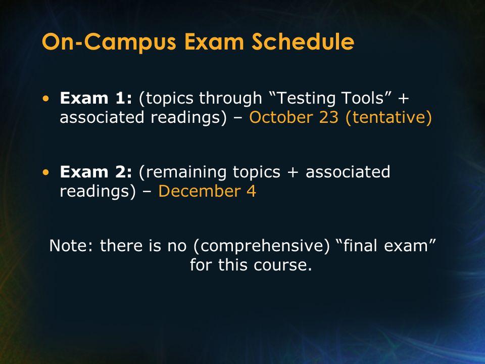 On-Campus Exam Schedule Exam 1: (topics through Testing Tools + associated readings) – October 23 (tentative) Exam 2: (remaining topics + associated r