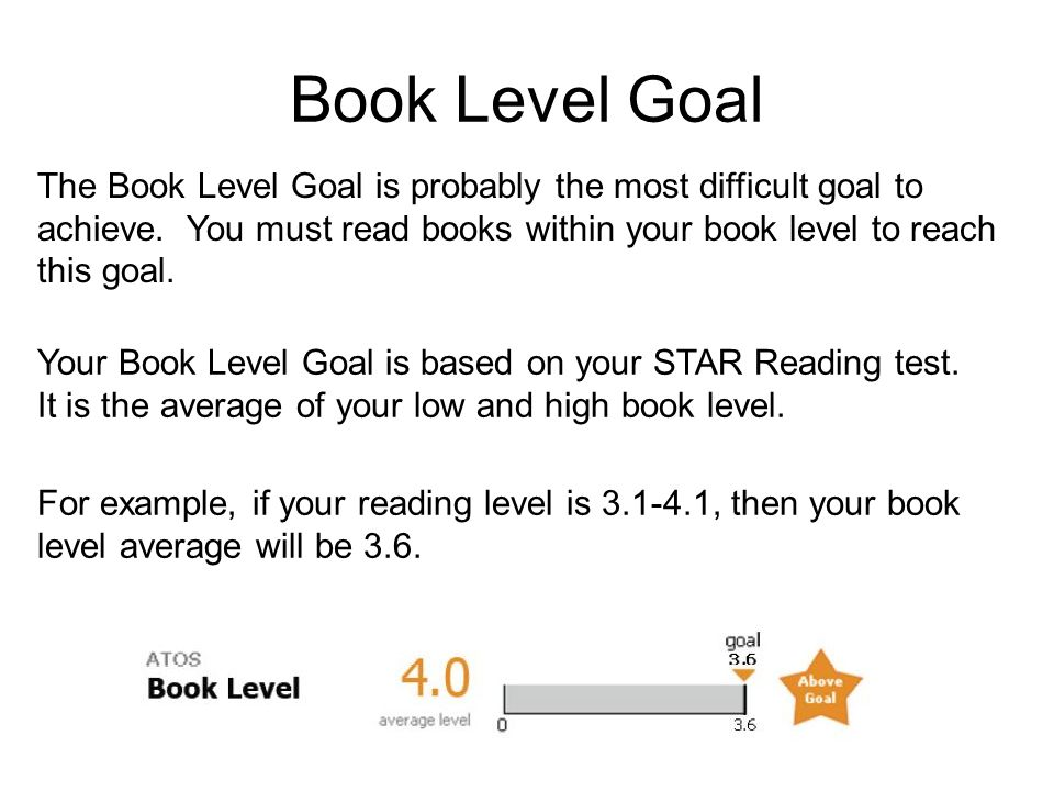 Book Level Goal The Book Level Goal is probably the most difficult goal to achieve.
