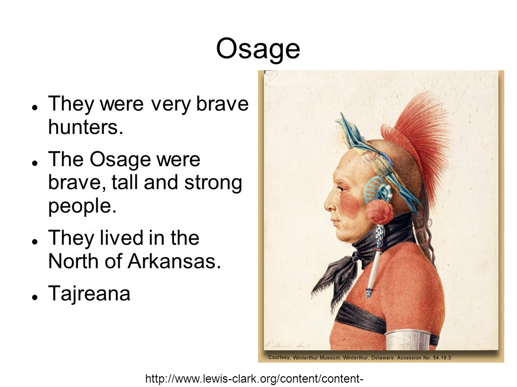 Osage They were very brave hunters. The Osage were brave, tall and strong people. They lived in the North of Arkansas. Tajreana http://www.lewis-clark