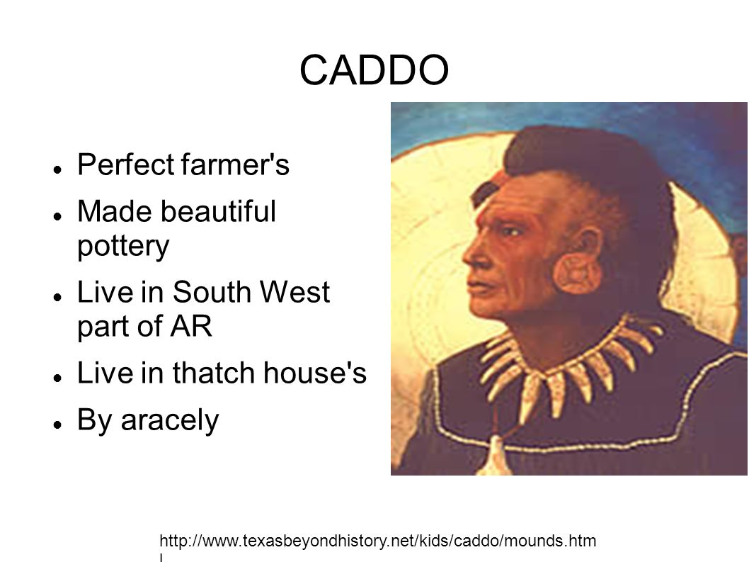 CADDO Perfect farmer's Made beautiful pottery Live in South West part of AR Live in thatch house's By aracely http://www.texasbeyondhistory.net/kids/c