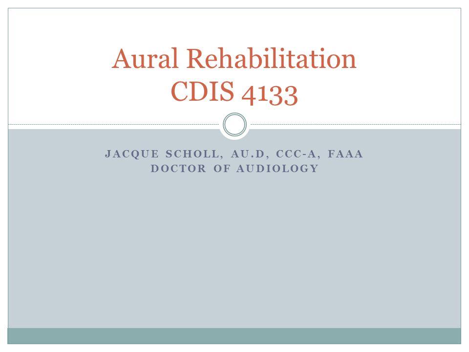 JACQUE SCHOLL, AU.D, CCC-A, FAAA DOCTOR OF AUDIOLOGY Aural Rehabilitation CDIS 4133