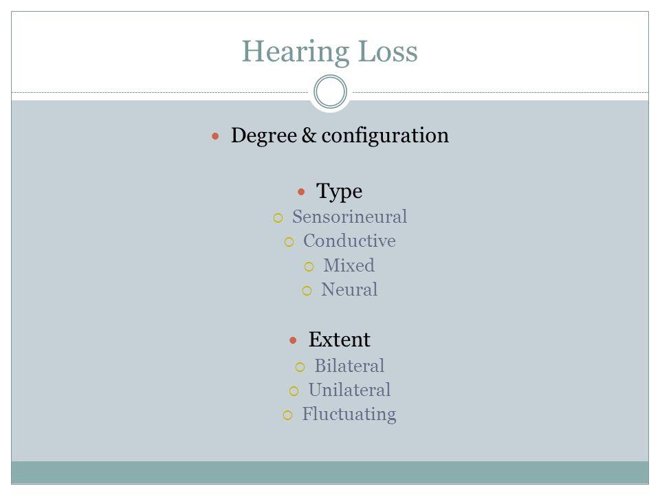 Hearing Loss Degree & configuration Type Sensorineural Conductive Mixed Neural Extent Bilateral Unilateral Fluctuating