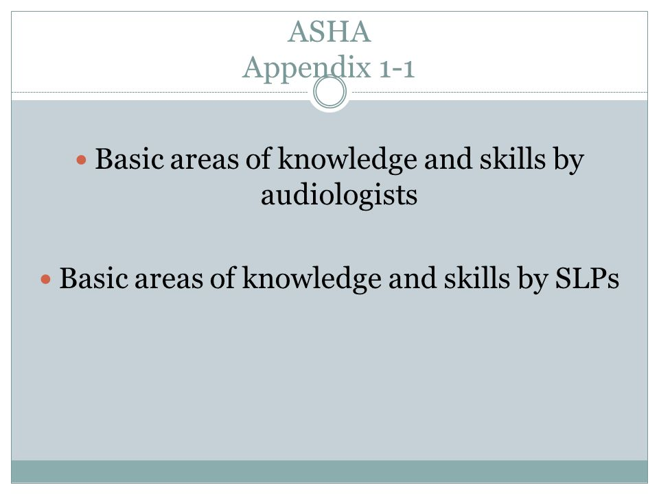 ASHA Appendix 1-1 Basic areas of knowledge and skills by audiologists Basic areas of knowledge and skills by SLPs