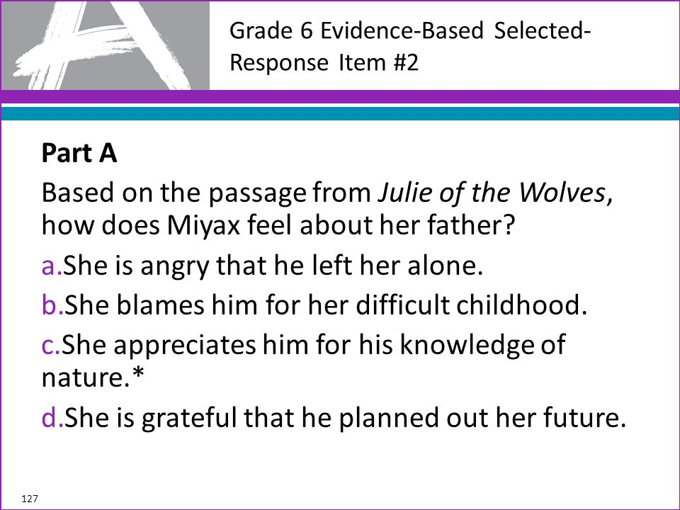 Part A Based on the passage from Julie of the Wolves, how does Miyax feel about her father? a.She is angry that he left her alone. b.She blames him fo