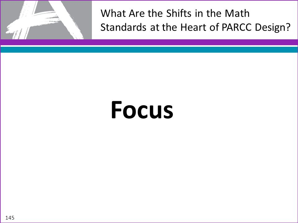 What Are the Shifts in the Math Standards at the Heart of PARCC Design? Focus 145