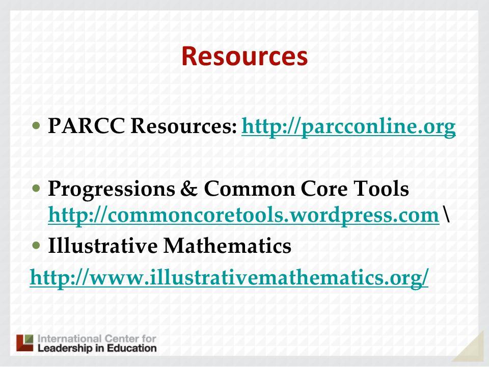 Resources PARCC Resources: http://parcconline.orghttp://parcconline.org Progressions & Common Core Tools http://commoncoretools.wordpress.com \ http:/