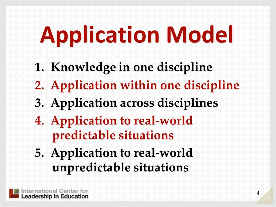 Application Model 1. Knowledge in one discipline 2. Application within one discipline 3. Application across disciplines 4. Application to real-world p