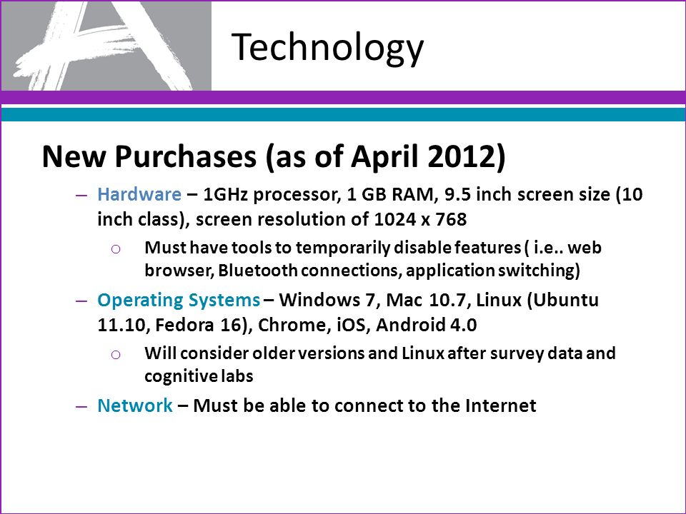 Technology New Purchases (as of April 2012) – Hardware – 1GHz processor, 1 GB RAM, 9.5 inch screen size (10 inch class), screen resolution of 1024 x 7