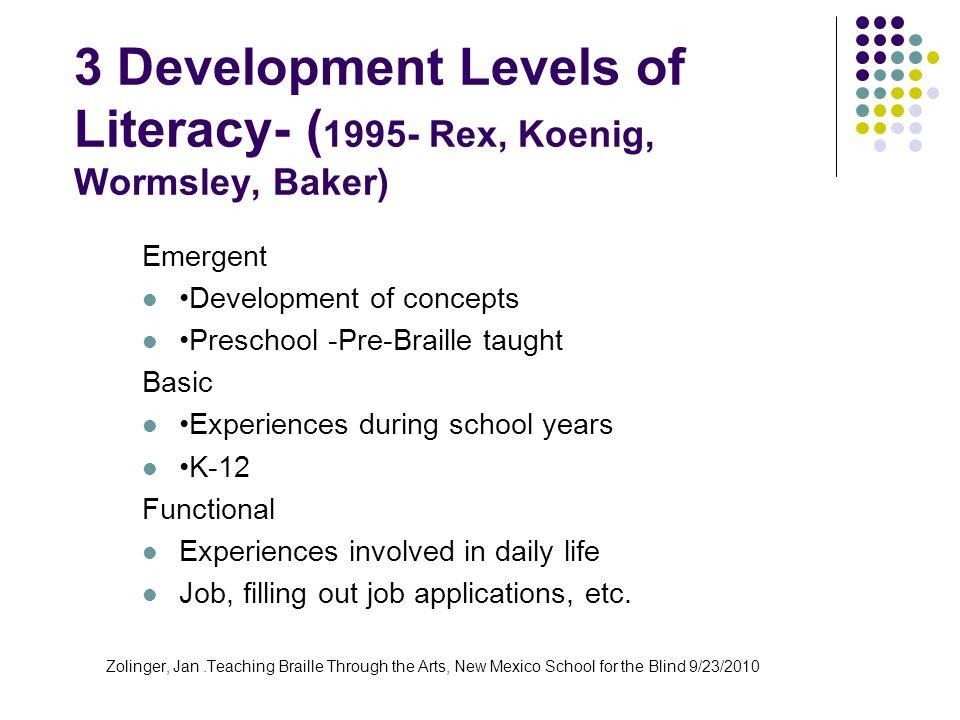 3 Development Levels of Literacy- ( 1995- Rex, Koenig, Wormsley, Baker) Emergent Development of concepts Preschool -Pre-Braille taught Basic Experienc