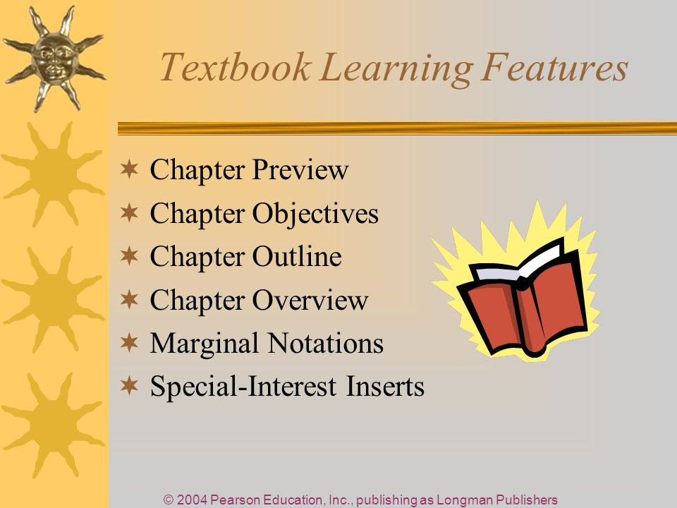 © 2004 Pearson Education, Inc., publishing as Longman Publishers Textbook Learning Features Chapter Preview Chapter Objectives Chapter Outline Chapter Overview Marginal Notations Special-Interest Inserts