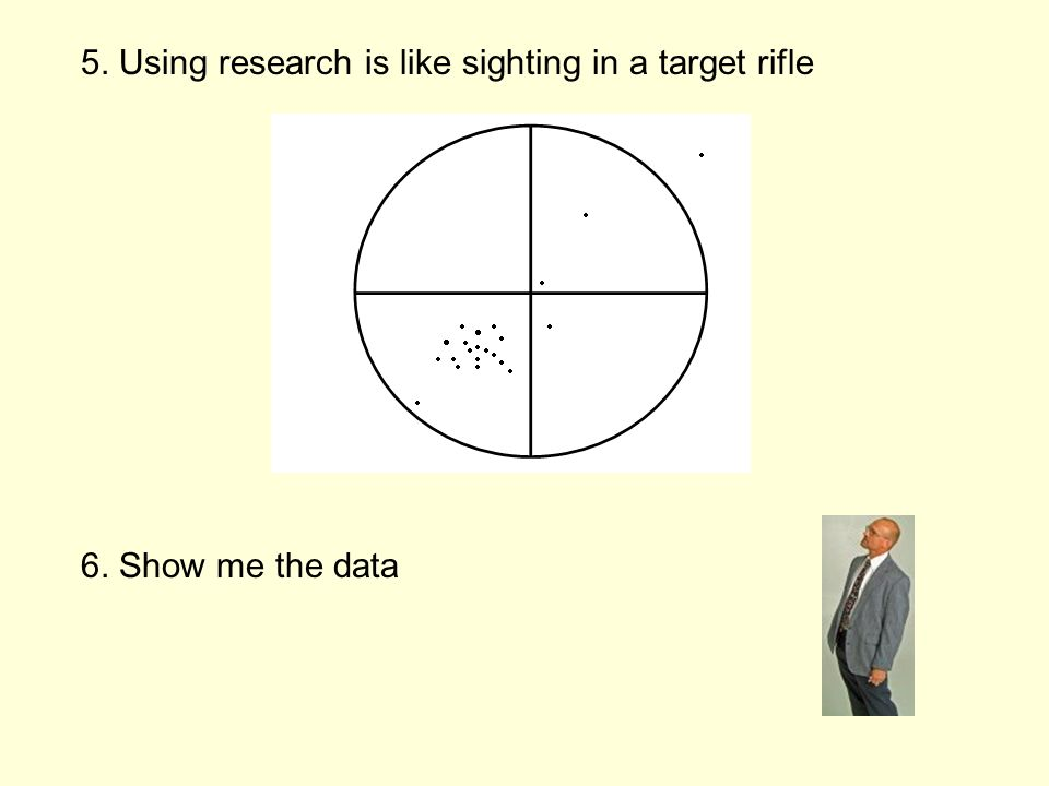 5. Using research is like sighting in a target rifle 6. Show me the data