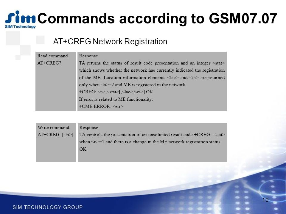 10 Commands according to GSM07.07 AT+CREG Network Registration