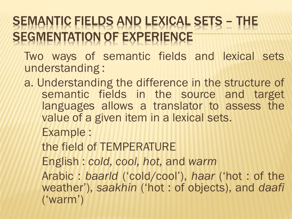 Two ways of semantic fields and lexical sets understanding : a.
