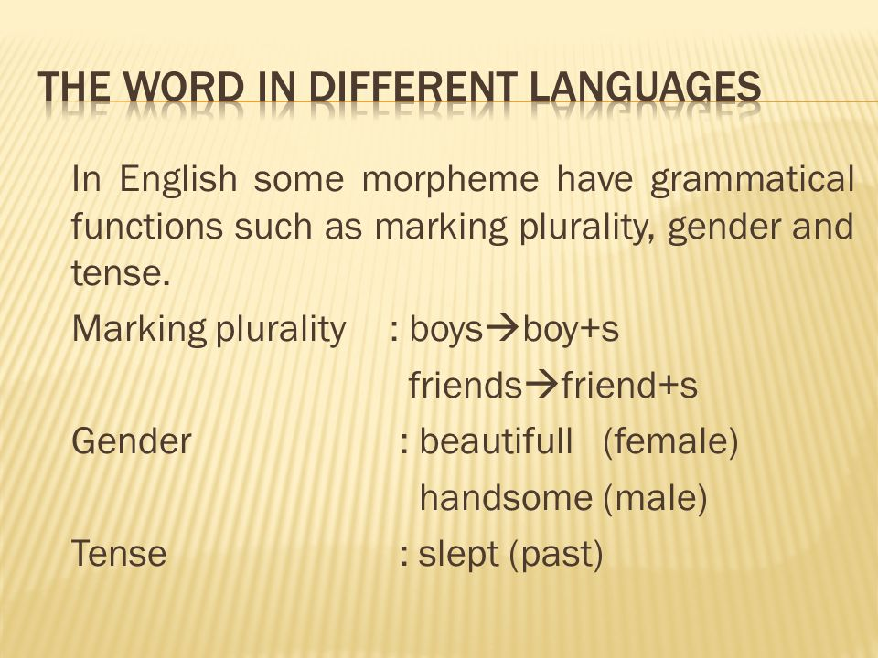 In English some morpheme have grammatical functions such as marking plurality, gender and tense.