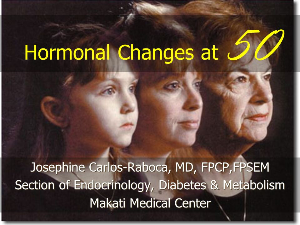 Hormonal Changes at 50 Josephine Carlos-Raboca, MD, FPCP,FPSEM Section of Endocrinology, Diabetes & Metabolism Makati Medical Center
