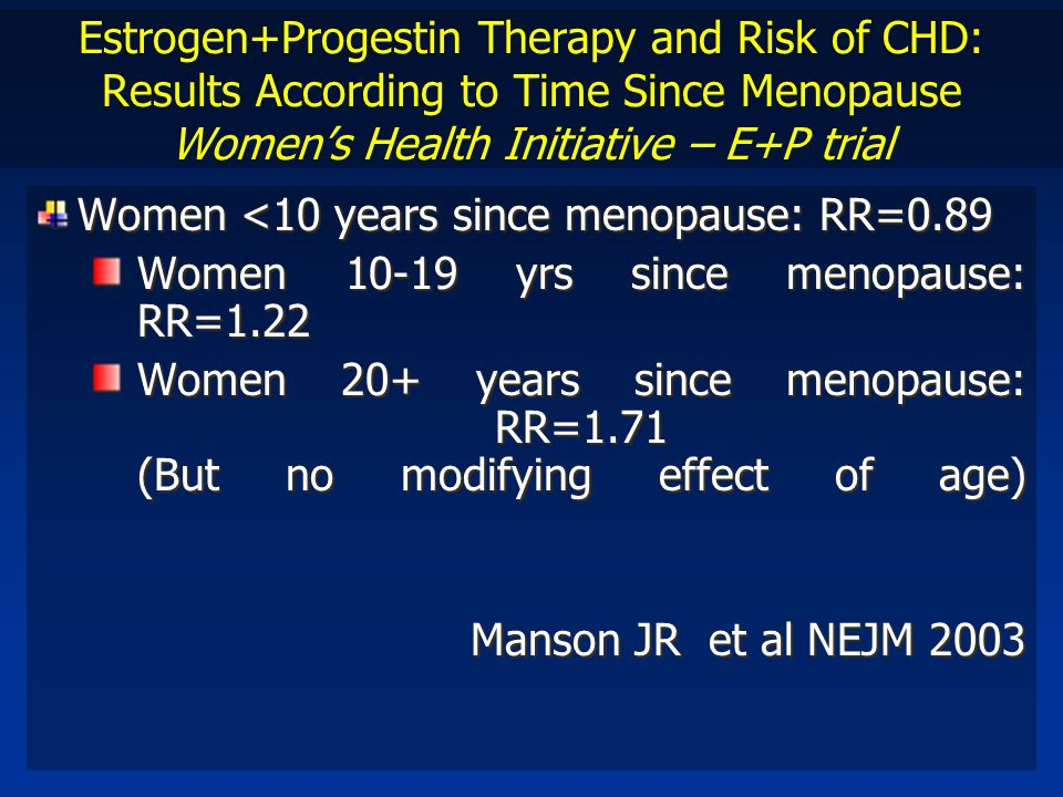Estrogen+Progestin Therapy and Risk of CHD: Results According to Time Since Menopause Womens Health Initiative – E+P trial Women <10 years since menop