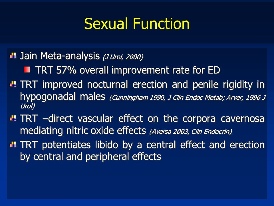 Sexual Function Jain Meta-analysis (J Urol, 2000) TRT 57% overall improvement rate for ED TRT improved nocturnal erection and penile rigidity in hypog
