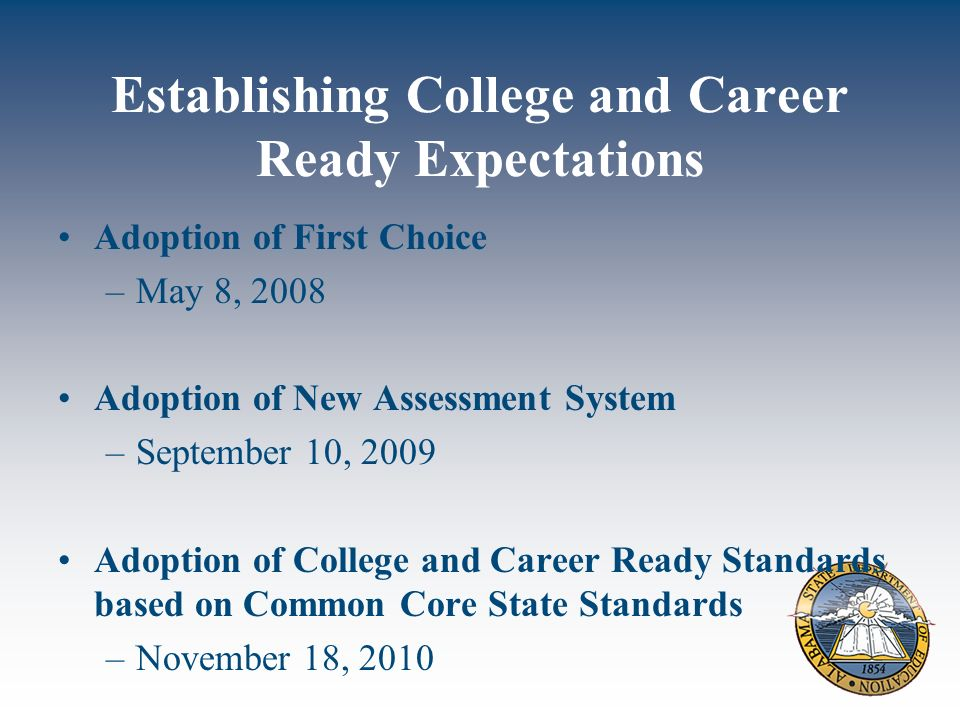 Establishing College and Career Ready Expectations Adoption of First Choice –May 8, 2008 Adoption of New Assessment System –September 10, 2009 Adoption of College and Career Ready Standards based on Common Core State Standards –November 18, 2010