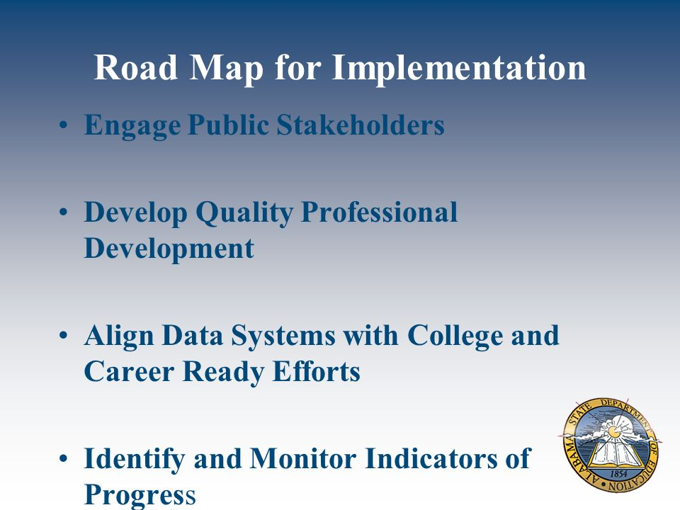 Road Map for Implementation Engage Public Stakeholders Develop Quality Professional Development Align Data Systems with College and Career Ready Efforts Identify and Monitor Indicators of Progress