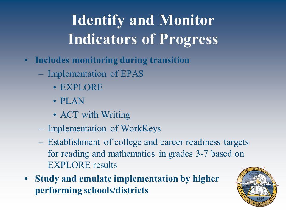 Identify and Monitor Indicators of Progress Includes monitoring during transition –Implementation of EPAS EXPLORE PLAN ACT with Writing –Implementation of WorkKeys –Establishment of college and career readiness targets for reading and mathematics in grades 3-7 based on EXPLORE results Study and emulate implementation by higher performing schools/districts