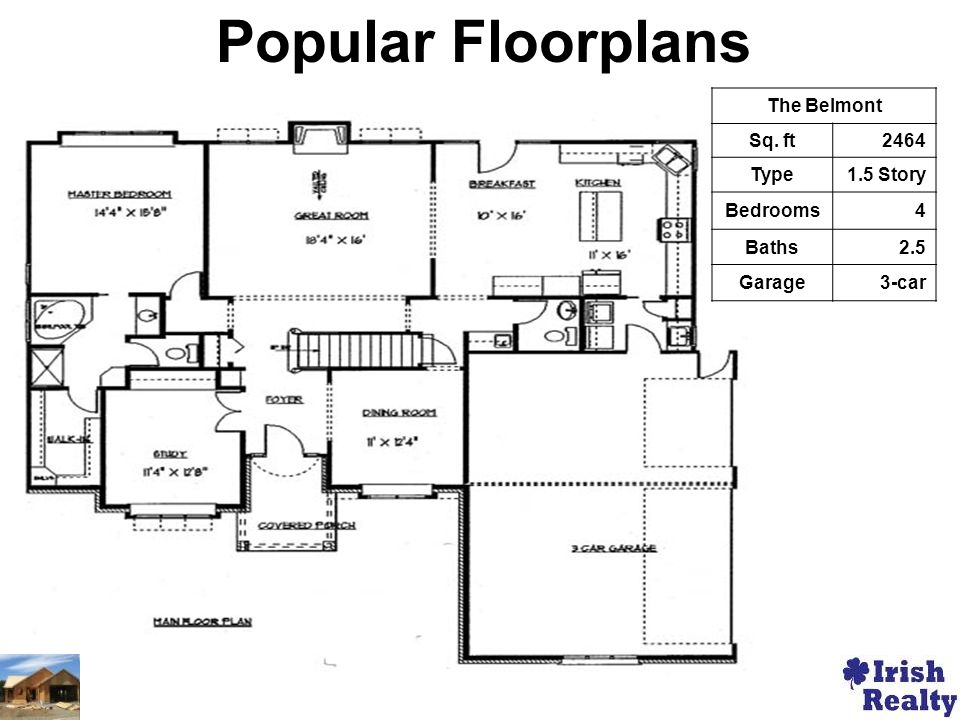 The Belmont Sq. ft2464 Type1.5 Story Bedrooms4 Baths2.5 Garage3-car Popular Floorplans