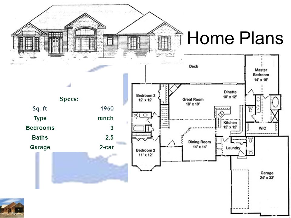 Home Plans Specs: Sq. ft1960 Typeranch Bedrooms3 Baths2.5 Garage2-car