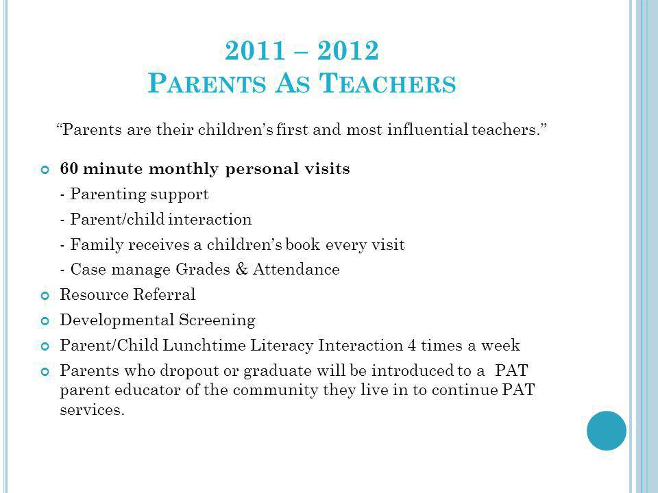 2011 – 2012 P ARENTS A S T EACHERS Parents are their childrens first and most influential teachers. 60 minute monthly personal visits - Parenting supp