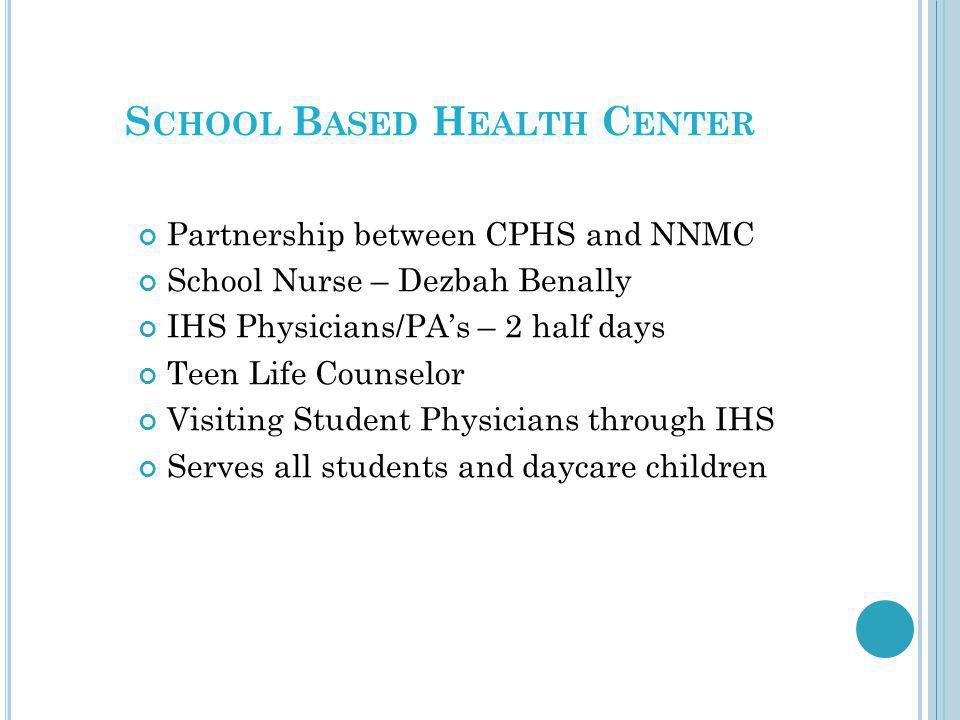 S CHOOL B ASED H EALTH C ENTER Partnership between CPHS and NNMC School Nurse – Dezbah Benally IHS Physicians/PAs – 2 half days Teen Life Counselor Vi