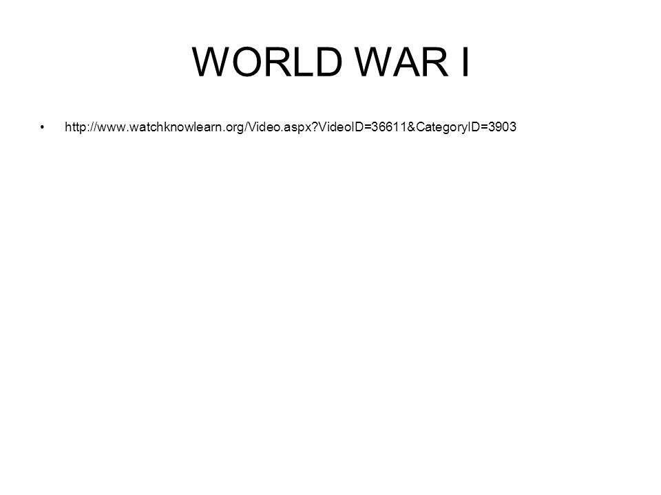 WORLD WAR I World War I (WWI) was a global war centred in Europeglobal warEurope 1914 – 1918 AKA, Great War involved all the world s great powersgreat powers two opposing alliances 1.