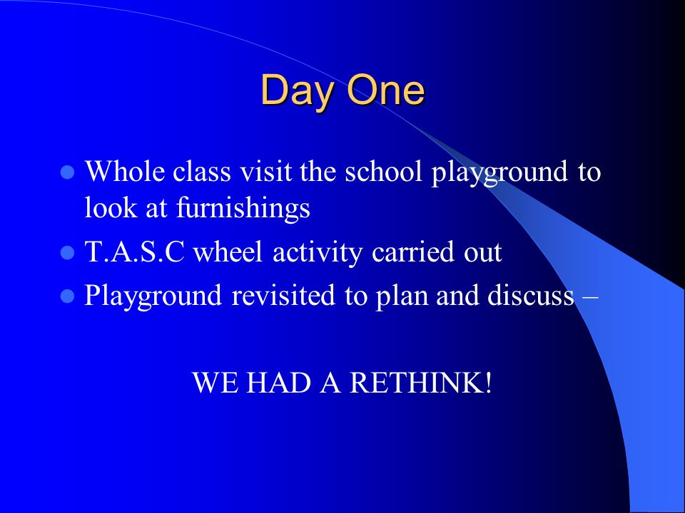 Day One Whole class visit the school playground to look at furnishings T.A.S.C wheel activity carried out Playground revisited to plan and discuss – W
