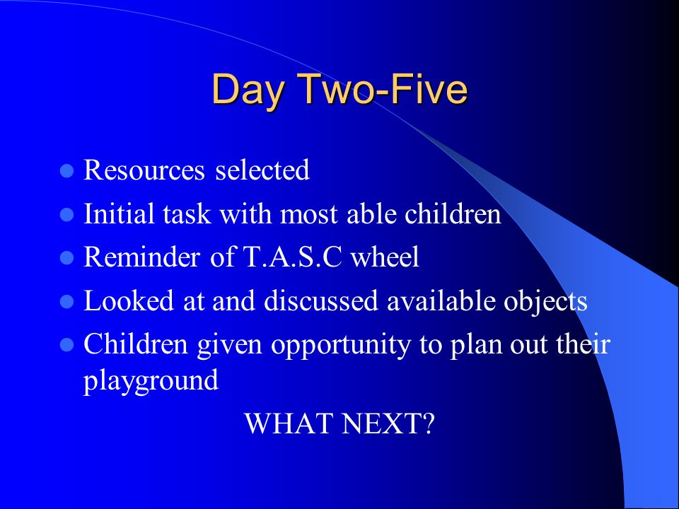 Day Two-Five Resources selected Initial task with most able children Reminder of T.A.S.C wheel Looked at and discussed available objects Children give