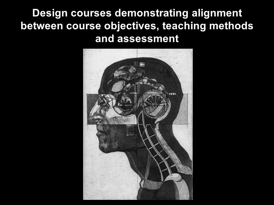 Design courses demonstrating alignment between course objectives, teaching methods and assessment