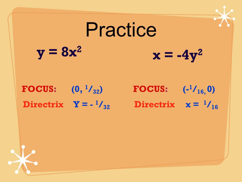 Practice y = 8x 2 x = -4y 2 FOCUS: (0, 1 / 32 ) Directrix Y = - 1 / 32 FOCUS: (- 1 / 16, 0) Directrix x = 1 / 16
