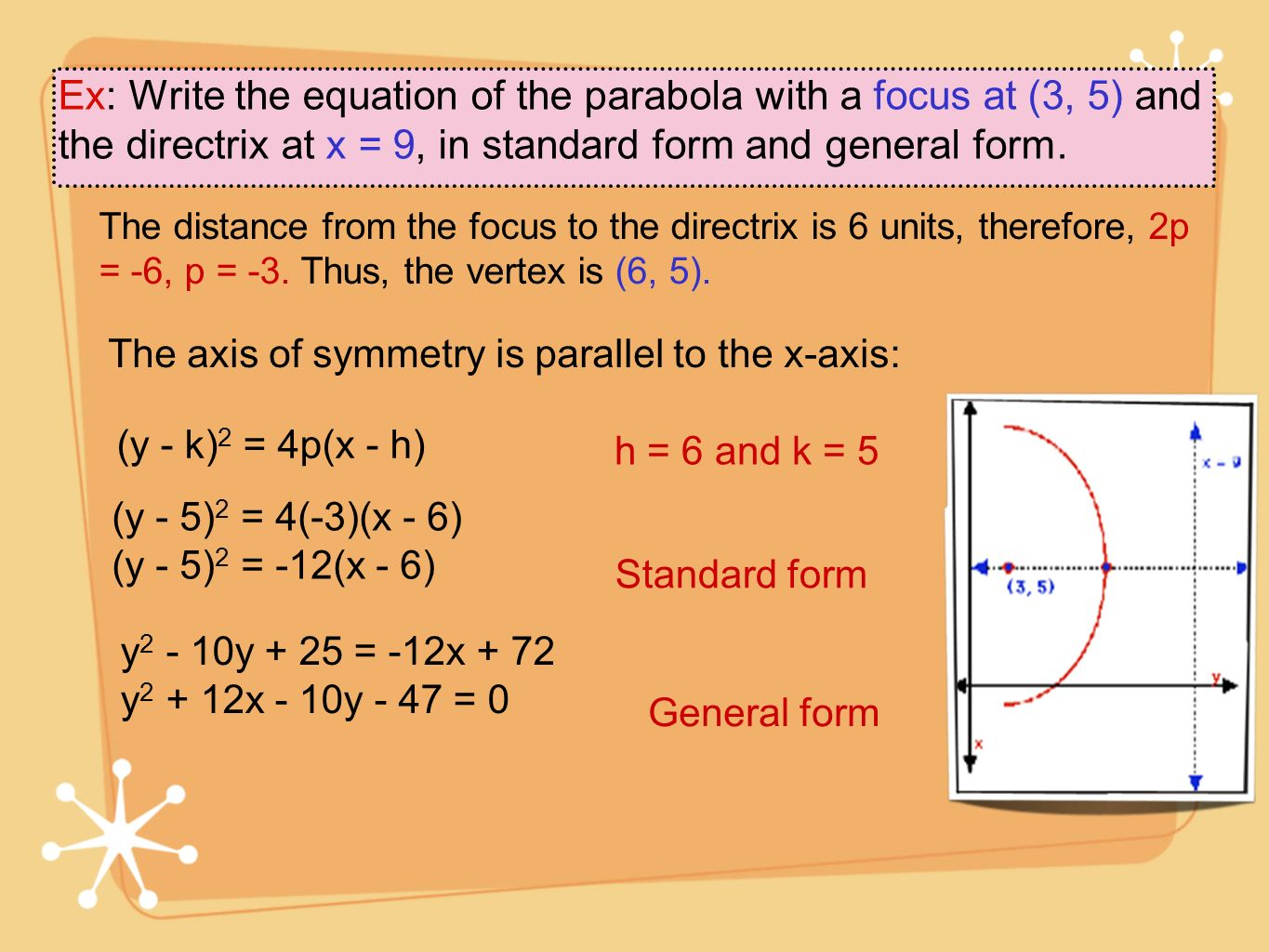 Ex: Write the equation of the parabola with a focus at (3, 5) and the directrix at x = 9, in standard form and general form. The distance from the foc