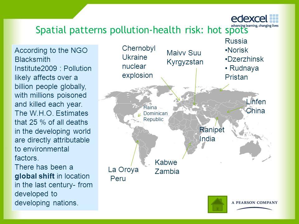 Spatial patterns pollution-health risk: hot spots Chernobyl Ukraine nuclear explosion Kabwe Zambia La Oroya Peru Linfen China Maivv Suu Kyrgyzstan Rus