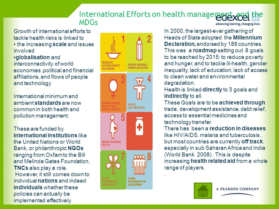 International Efforts on health management and the MDGs Growth of international efforts to tackle health risks is linked to the increasing scale and i