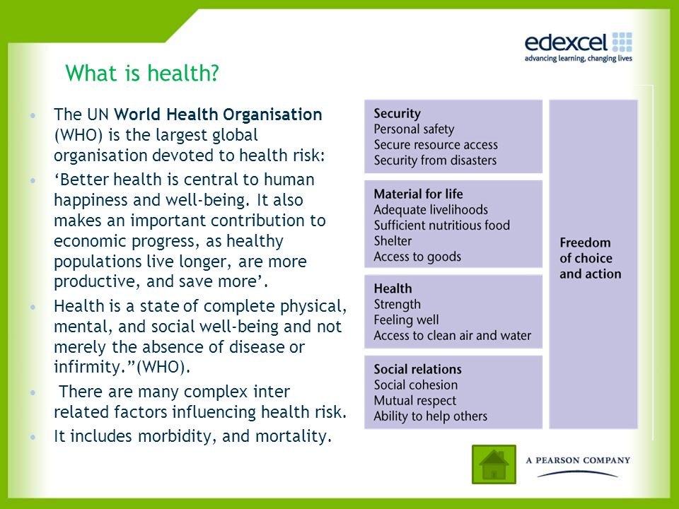 The health risk equation Health risk=health hazard exposure + vulnerability - management Risks to reduction of quality of health, morbidity + mortality Actual physical threats to humans: toxic substance, trauma, virus, bacteria, psychological trauma + mental illness Vulnerability depends on Human characteristics Environment Lifestyle choices Healthcare services Some health risks easier to manage.
